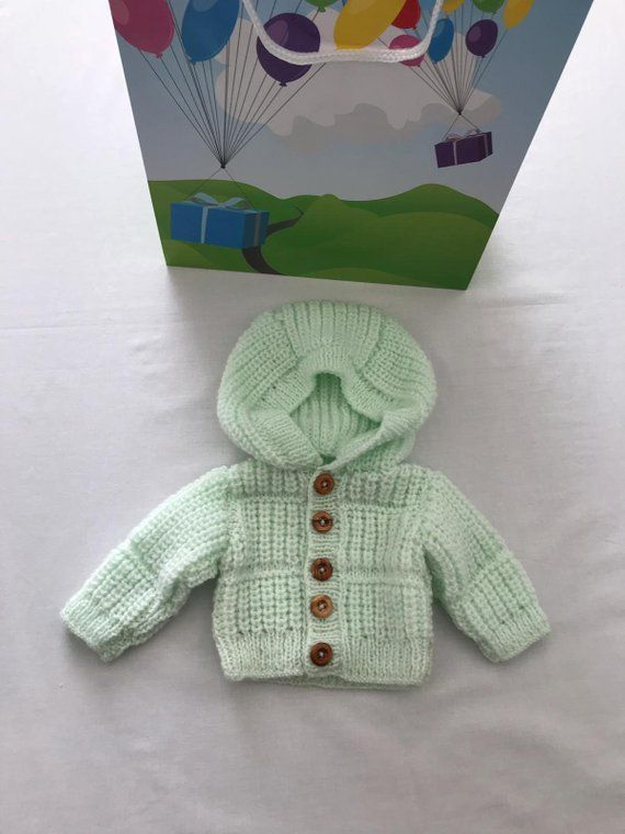 d94906d3f70d Hand knitted/handmade/Preemie/Premature/Newborn baby/baby girl/baby boy/Unisex/hooded  Jacket/hoodie/cardigan/green