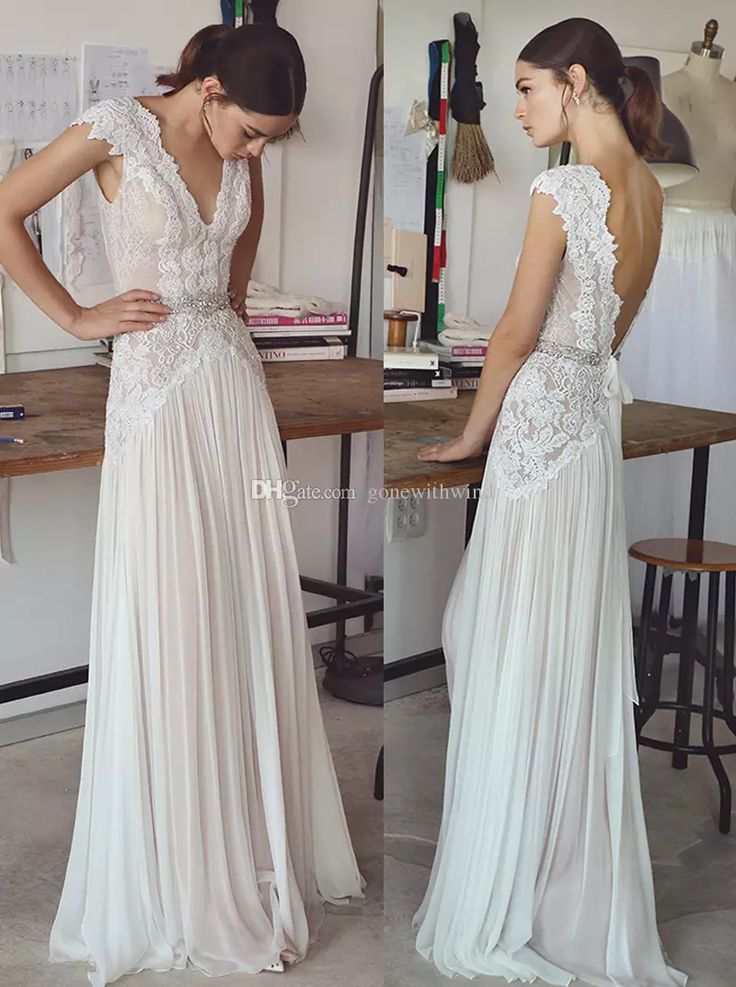 Cheap Vintage Lace Beaded Wedding Dresses 2017 Simple A Line V Neckline Backless Sweep Train Bridal Gowns As Low 20101 Also Buy For