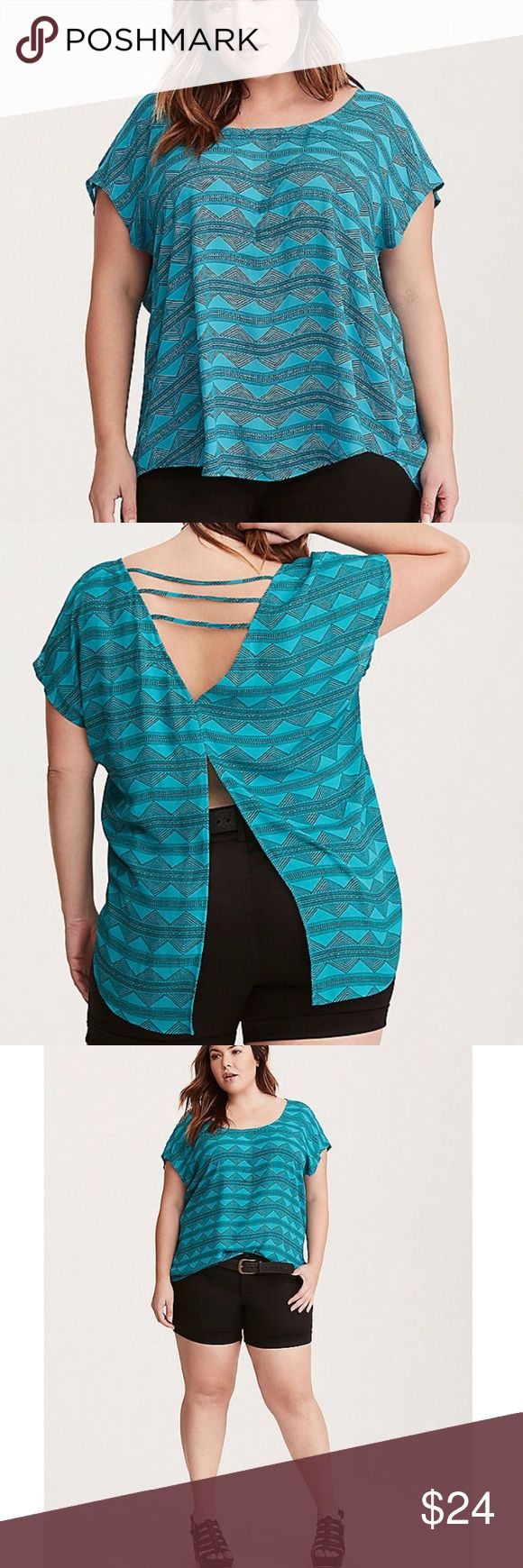 "Torrid Plus Teal Diamond Print Strappy Top Torrid Plus Size Teal Diamond Print Strappy Georgette Top. Bright teal blue with black diamond, geo print. Round neckline with short sleeves. Strappy, cutout back. Split back gives top a flowy, fit. Lightweight material. Size 2, equivalent to 2X, see Torrid size chart. NWT, new with tags. Measurements taken laid flat. 27"" bust, 31.5"" length. torrid Tops Blouses"
