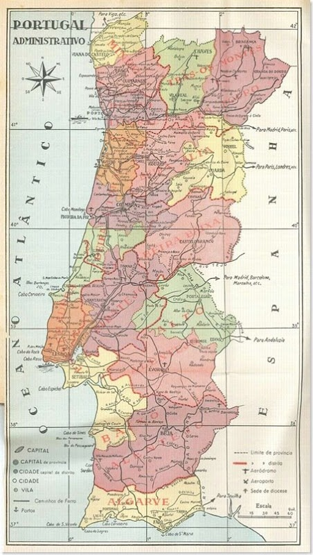 mapa administrativo de Portugal