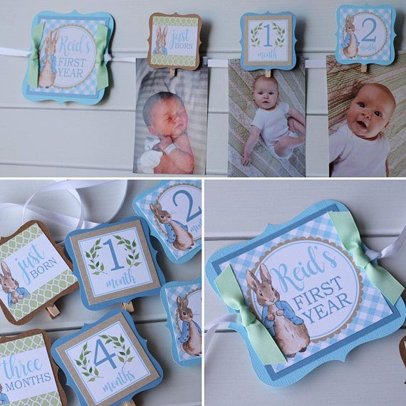Peter Rabbit Birthday Photo Banner 12 Month Baby S First Birthday Photo Banner Peter Rabbit Birthday Bunny Birthday Party