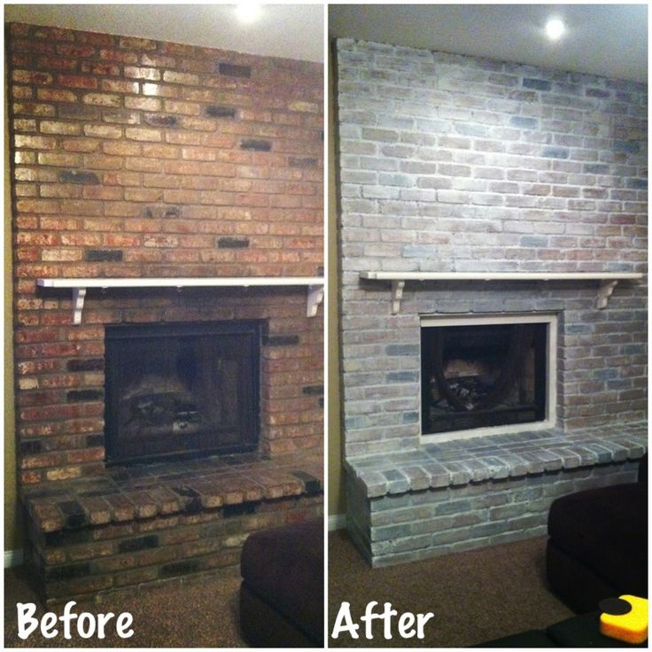 DIY white washed brick fireplace. Did this last night after putting baby to bed.  Very easy! Items needed: white latex paint, water, paintbrush, and a rag. Dilute paint with water, 50/50. Brush on paint & and rub off with damp rag. Only 1 coat needed.