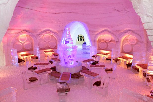Montreal, Quebec's Pommery Ice Restaurant at Snow Village Canada is the first of its kind in North America, combining a gourmet eating experience with extravagant ice and snow sculptures and architecture.