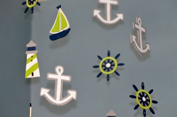 Nautical Nursery Mobile Custom Wooden Painted Sailboat Anchor Lighthouse Wheel Beach Theme Whimsical Boat Decor Baby Shower Gift Ocean Fish Navy Gray Lime Green and White Flutter Bunny Boutique