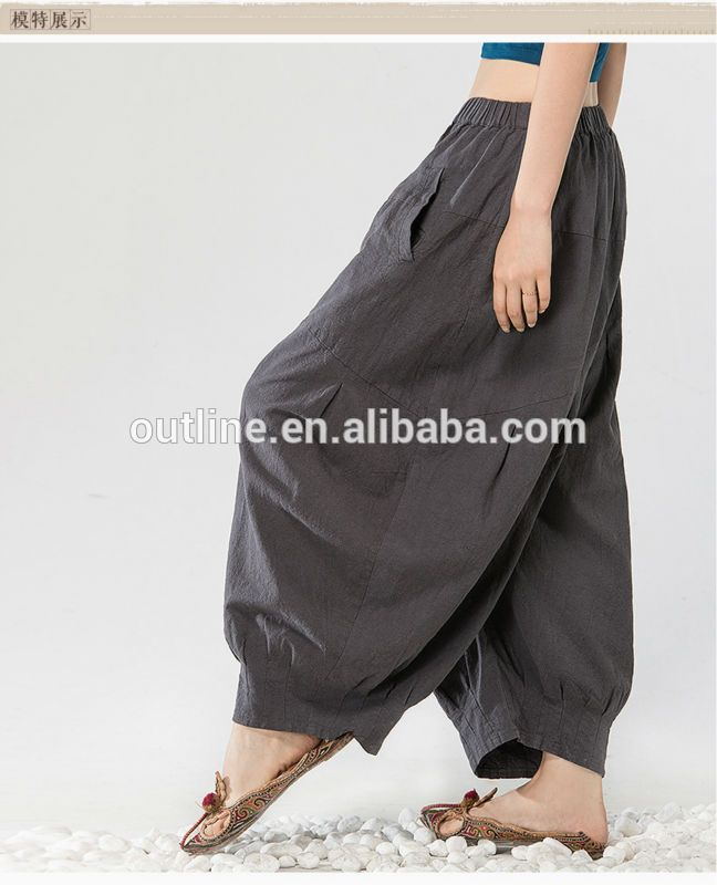 Jiqiuguer Original Autumn Plus Size Loose ankle cuff Natural cotton women in plastic pants western size
