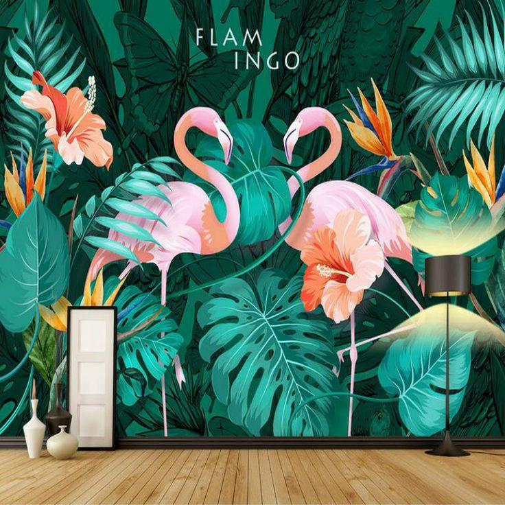 3d обои Гостиная современные обои Задний план настенная живопись фреска шелк Nordic ручная роспись тропический Фламинго Обои
