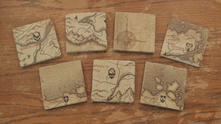 DIY aged map coasters with video! What better to rest a beverage on whilst playing Skyrim than Skyrim map coasters.