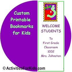 Bookmarks for Kids at ActivitiesForKids.com