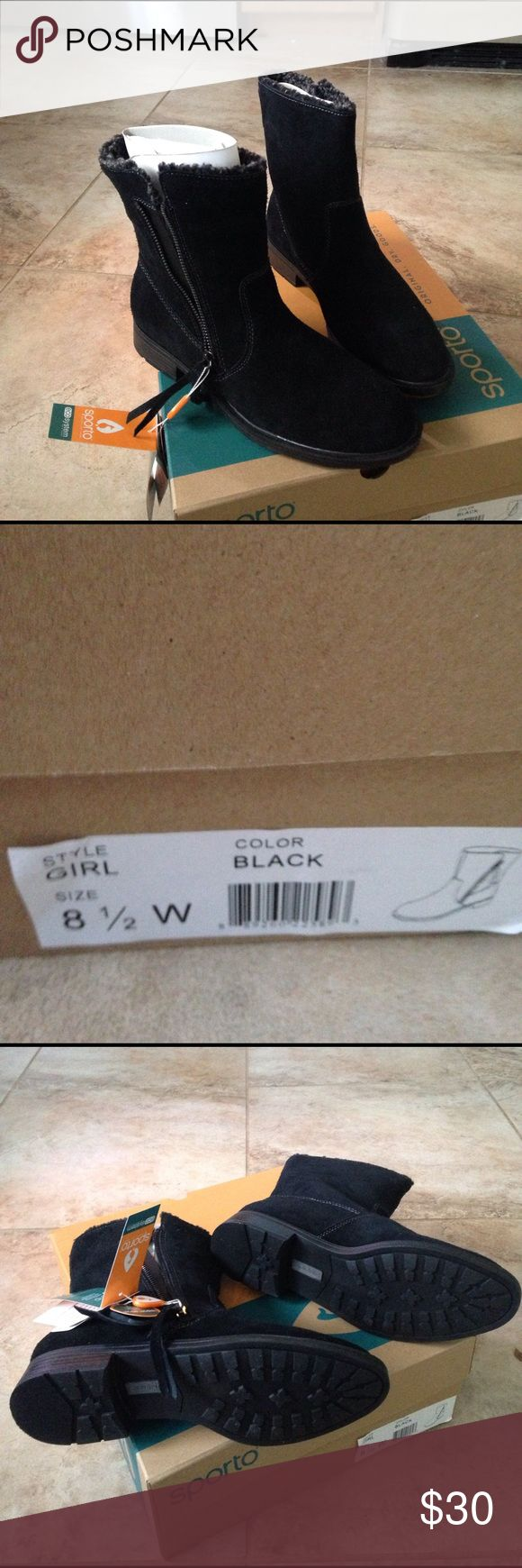 Brand new suede black Sporto boots 8.5wide Brand new size 8.5w Sporto black suede boots. These boots are built to keep your feet warm, and dry. The bottom the shoe is built to grip instead of slide. Sporto Shoes Winter & Rain Boots