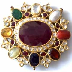Made in 22k Yellow Gold, enamelling (meena) & Studded With All Nine Precious Stone (Navratna) & uncut diamond