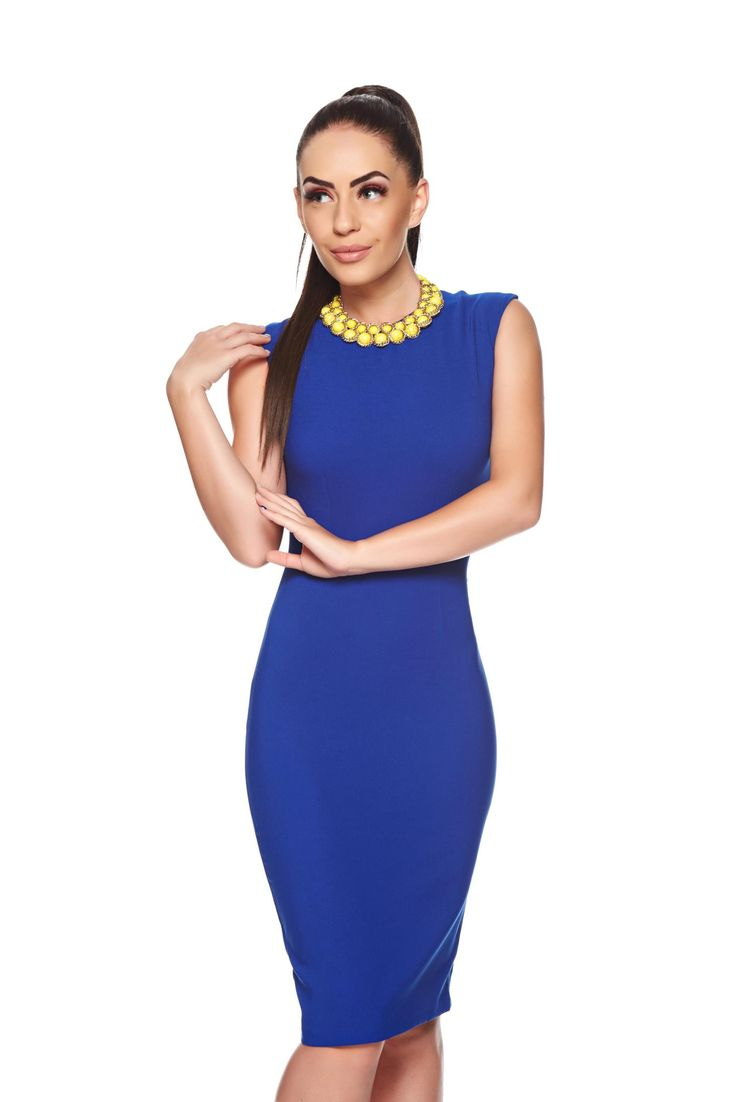 Fofy Admiration Blue Dress, accesorised with necklace, form-fitting, back zipper fastening, slightly elastic fabric, slightly elastic fabric