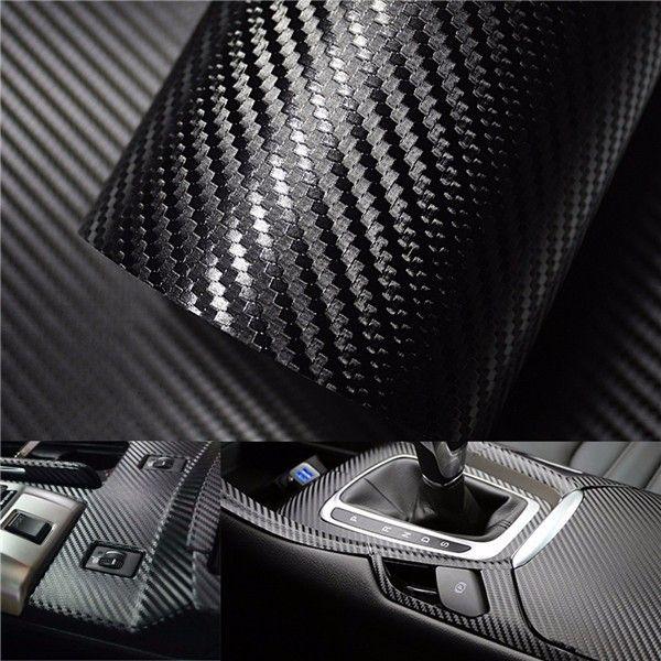 3d carbon fiber vinyl car wrap sheet roll film sticker decal diy 100 x12 black vinyls cars. Black Bedroom Furniture Sets. Home Design Ideas