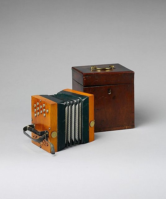"""1855-1860 British Concertina at the Metropolitan Museum of Art, New York - From the curators' comments: """"Wheatstone designed this instrument between 1850 and 1855 to play duets and accompany melodies. Just as with a regular English concertina, pressure and suction give the same note on two different reeds. Both hands nominally play the same twelve notes, but those played with the right hand sound an octave higher."""""""