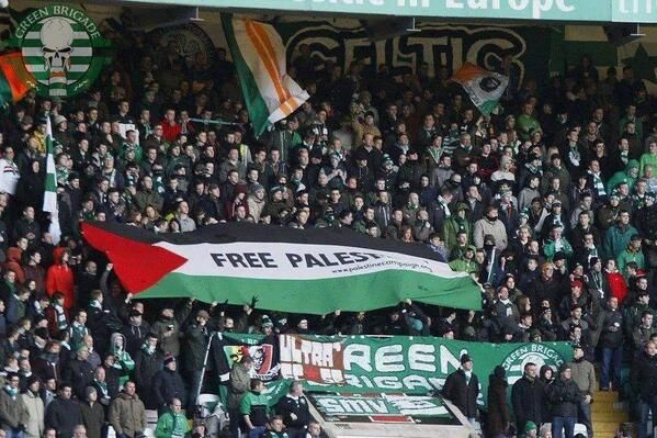 """Israel warns Celtic fans against flying Palestine flags. A spokeswoman for the Israeli Embassy in London said: """"I don't think it would be allowed.""""I don't see what the point is if you are Scottish and you want to fly a Palestinian flag. WHAT´S THE POINT ???"""" -""""The security situation in Israel and the Occupied Palestinian Territories is fast moving, tense and unpredictable"""" """"There's a risk that tourists or bystanders could be caught up in any incident."""""""""""""""