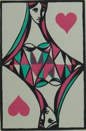 "Illustration by Ludmila Jiřincová, Srdcová dáma, opus 787, ""Queen of Hearts"", linocut."