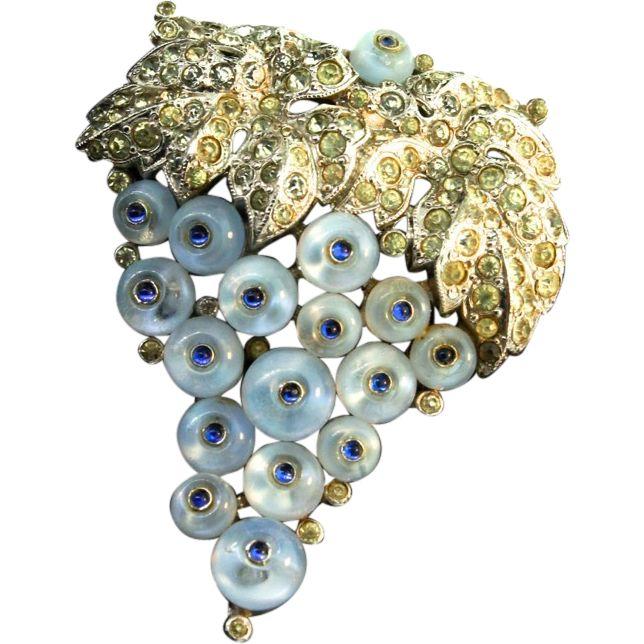 RARE Philippe TRIFARI Art Deco Style Moonstone ShoeButton Rhinestone Fur Clip Brooch Pin