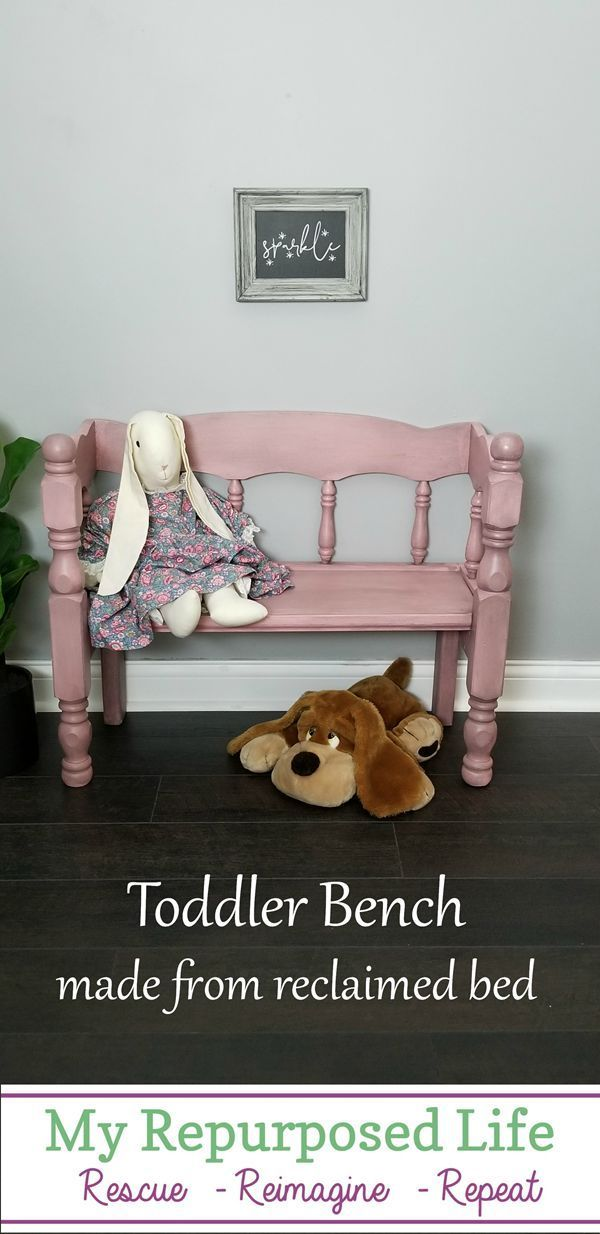 Child Bench Made From Reclaimed Bed My Repurposed Life Rescue Re Imagine Repeat Reclaimed Bed Repurposed Furniture Diy Furniture