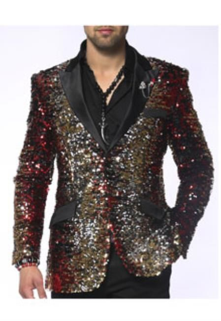 Mens Red/Gold/Silver/Black Fashion Blazer and Sport Coat Sequin paisley dinner jacket