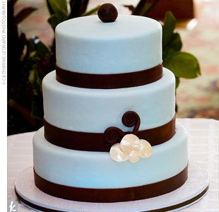 Wedding, Cake, Brown, Blue, Modern....i do like the simplicity of this...although I'm not a fan of fondant