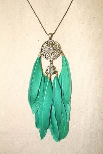 cute, feather, green, jewellery, necklace