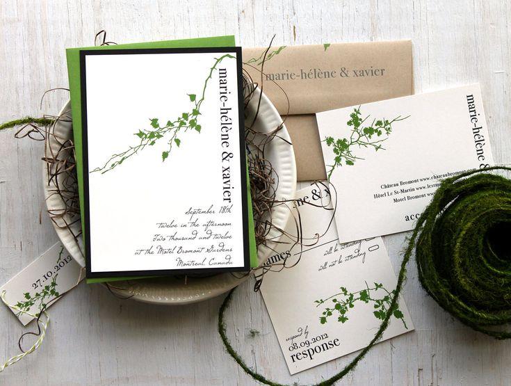 Modern Garden - Green Wedding Invitations, Garden Wedding Invitation, Natural, Baker Twine
