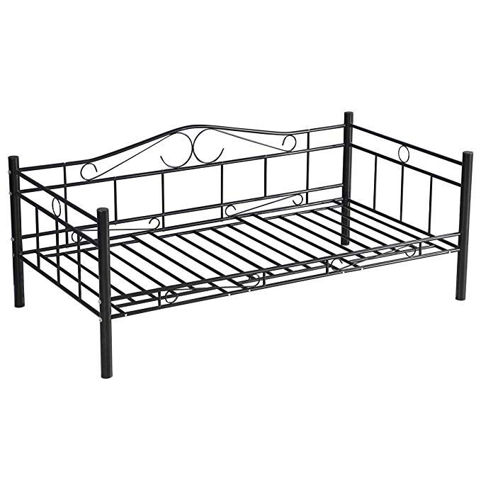 Giantex Twin Size Daybed Frame Metal Sofa Bed Solid Support With Headboard Guest Dorm Home Furniture Review Metal Sofa Sofa Bed Metal Frame Sofa Bed Frame