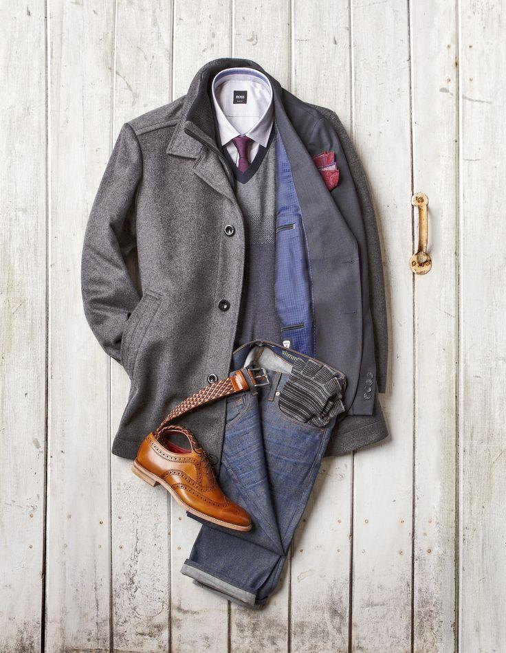 Topcoat with Storm Collar: Boss ($745)  Birdseye Blazer: Strellson ($498) Cashmere and Silk V-Neck Sweater: Boss ($375) Jacquard Shirt: Boss ($185) Woven Silk Tie: Eton ($125)  Wool Pocket Square: Dion ($60) Raw Rinse Denim: Seven For All Mankind ($265)  Braided Leather Belt: Benchcraft ($110) Tan Brogue Wingtip Shoe - Loake ($475) Smoker's Gloves: Ben Sherman ($48)