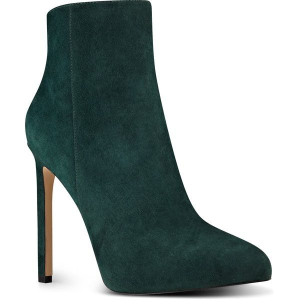 Nine West Ladivinia Pointy Toe Booties ($139) ❤ liked on Polyvore featuring shoes, boots, ankle booties, dark green suede, suede booties, high heel ankle booties, nine west boots, pointed toe boots and side zip boots