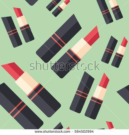 Red lipstick flat icon seamless pattern. #beautypattern #vectorpattern #patterndesign #seamlesspattern