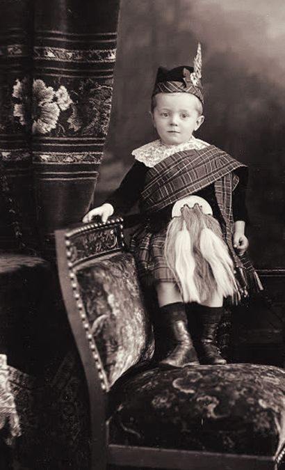 +~+~ Antique Photograph ~+~+  Wee lad dressed in his finest highlander outfit.  His sporran is almost as big as he is!