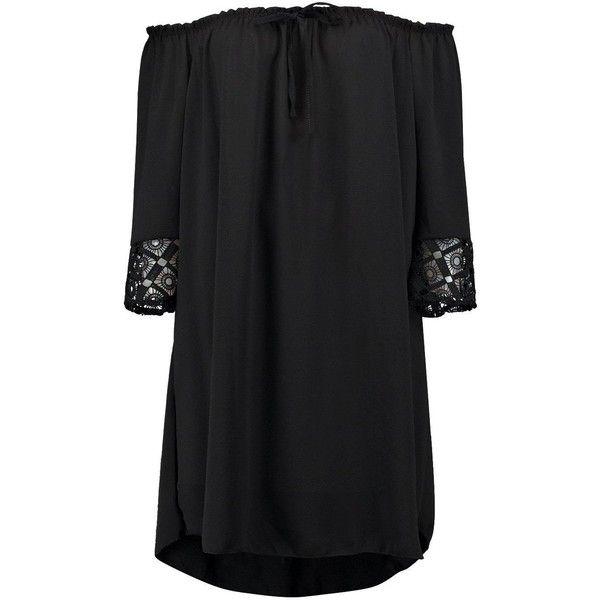 Boohoo Eleanor Off Shoulder Crochet Sleeve Dress | Boohoo ($26) ❤ liked on Polyvore featuring dresses, boohoo dresses, sleeved dresses, off shoulder dress, crochet dress and off-the-shoulder dresses