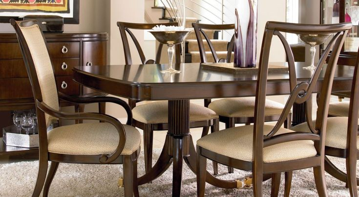 Dining Room Contemporary Dining Room Furniture Sets With Brown Dining Table 6 Chairs And Brown Cupboard Also Laminate Wood Flooring Used White Soft Carpet The Different Types of Dining Room Furniture Sets