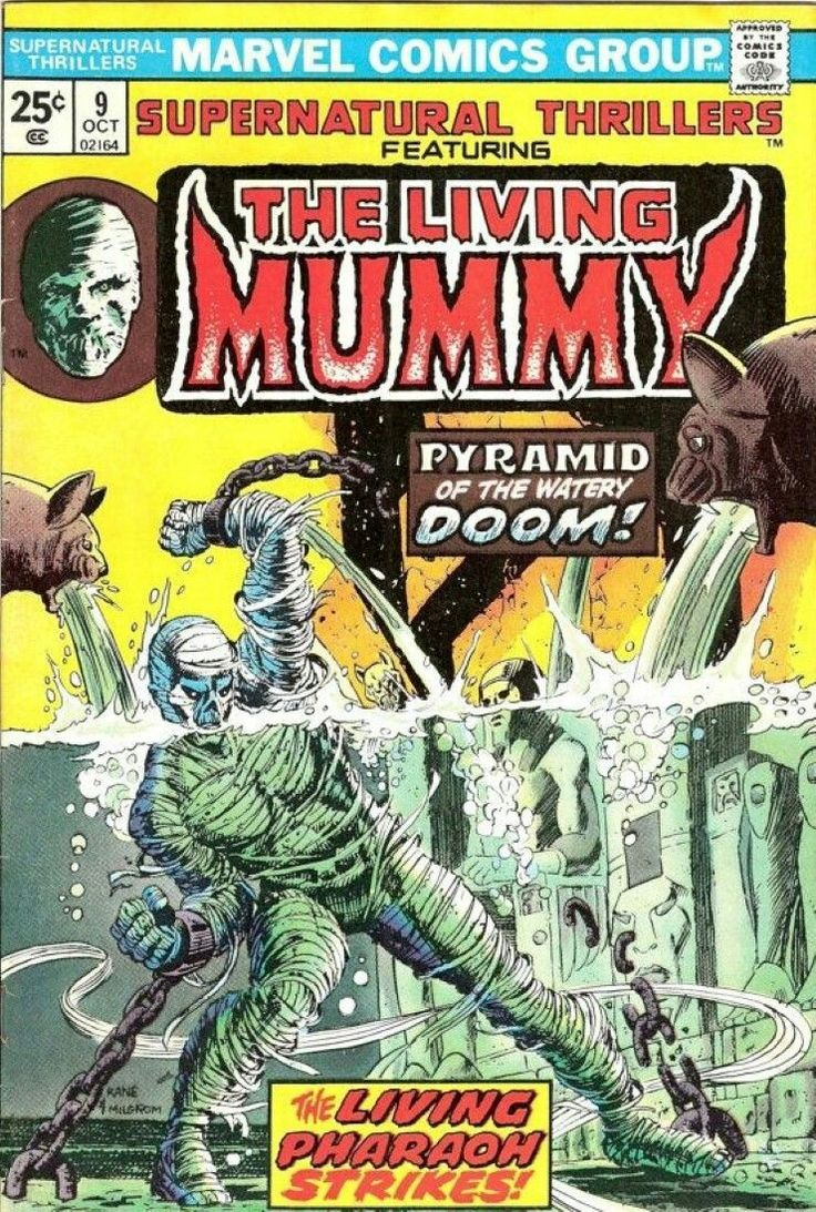 Cover of the Marvel Comics magazine | Supernatural Thrillers No. 9, featuring The Living Mummy
