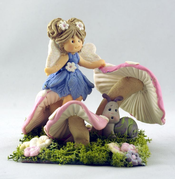 The Enchanted Fairy and her Snail friend - Sugar Buttons Accessories by Kathryn.  Katy Sue Designs