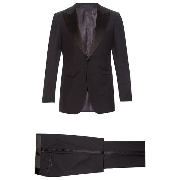 Lanvin Smoking wool and mohair-blend tuxedo (1,985 CAD) ❤ liked on Polyvore featuring men's fashion, men's clothing, men's suits, mens slim suits, mens formal suits, mens navy blue suit, mens slim fit navy suit and mens slim fit suits