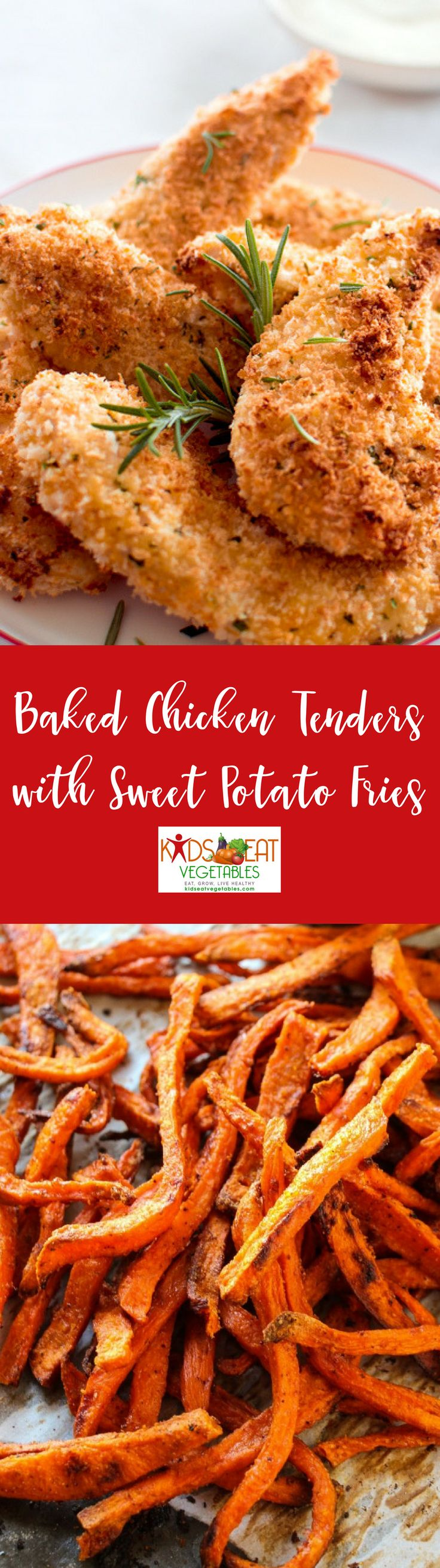 Baked chicken tenders and sweet potato fries are a perfect meal example of simple meals with a twist. Baking instead of frying greatly reduces the amount of fat but yields those signature tastes and textures children love while swapping white potatoes for