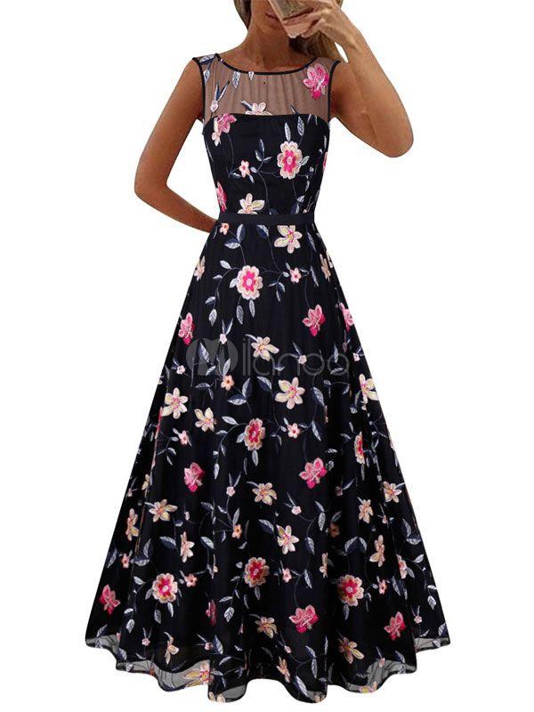 6233d650d698 Maxi vestido de partido florista bordado normal vestido largo de escota  deilusión sin mangas - Milanoo