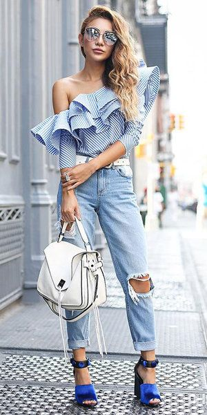 754327a1b1a4f4 Light blue off shoulder tops | off shoulder tops | Ruffle blouse, Denim  fashion, Striped long sleeve shirt
