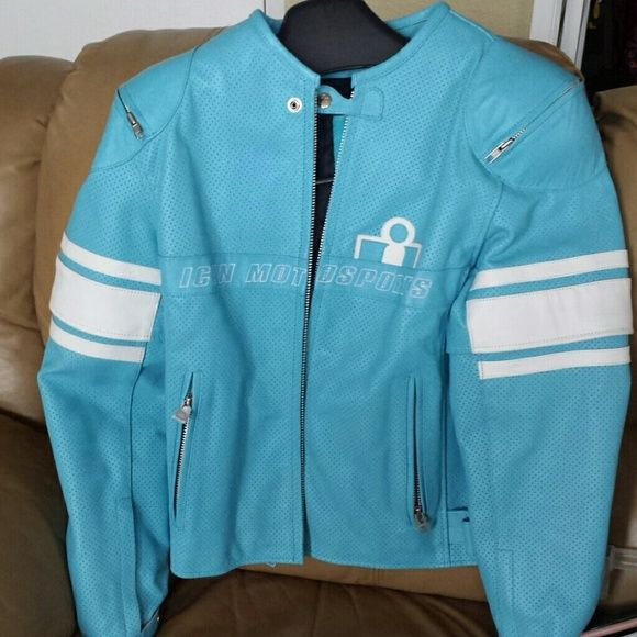 Female Icon Motorcycle Jacket! 100% genuine leather  Very cute and chic. Only wore 2 times basically brand spanking new ! XL but runs kind of small ICON Jackets & Coats