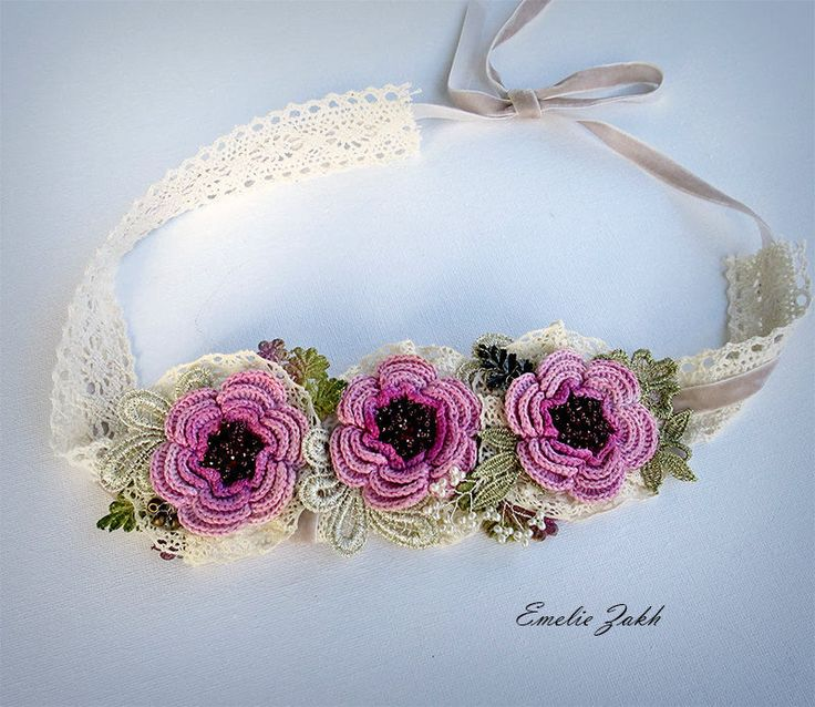 Headband jewelry hair crochet,pink flowers hair accessory Boho crochet headband, hair jewelry headband. Hair accessories bandage.