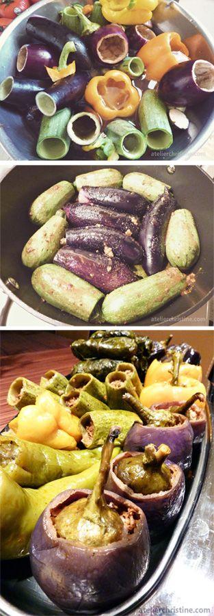 Bulgur Wheat Stuffed Summer Vegetables, step-by-step #recipe, #wholegrain ; armenian + middle eastern food
