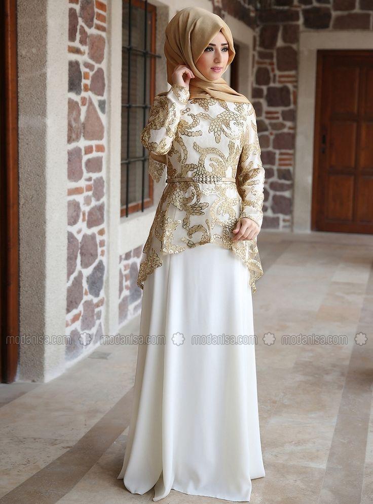 Peplum Evening Dress - Gold - Zehrace