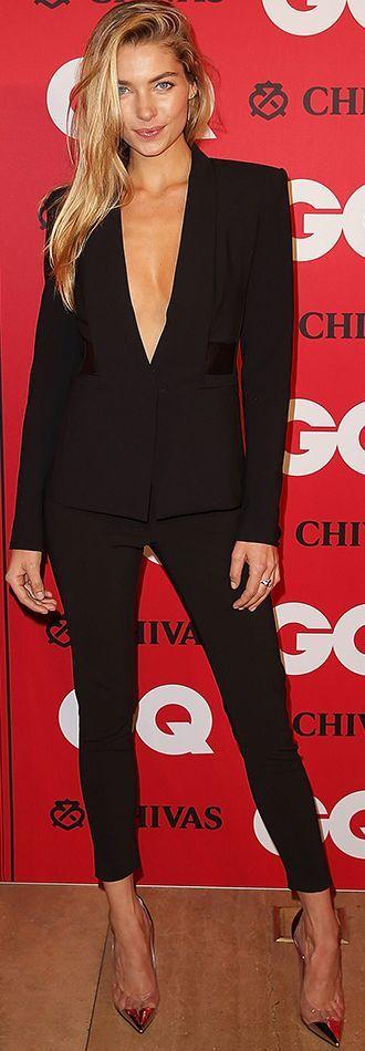 Black Taylor Plunging V-neck Suit