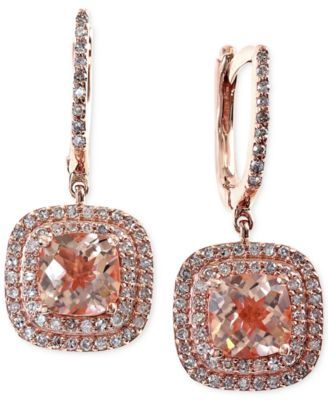 Blush by EFFY Morganite (2-9/10 ct. t.w.) and Diamond (1/2 ct. t.w.) Earrings in 14k Rose Gold
