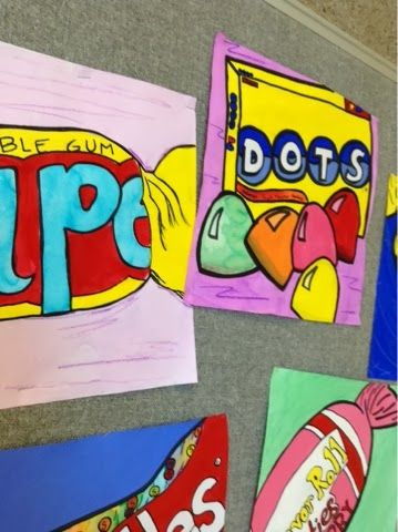Pop Art! Candy Paintings I think this would be too hard for my kids but would look cool at Halloween or Valentines day