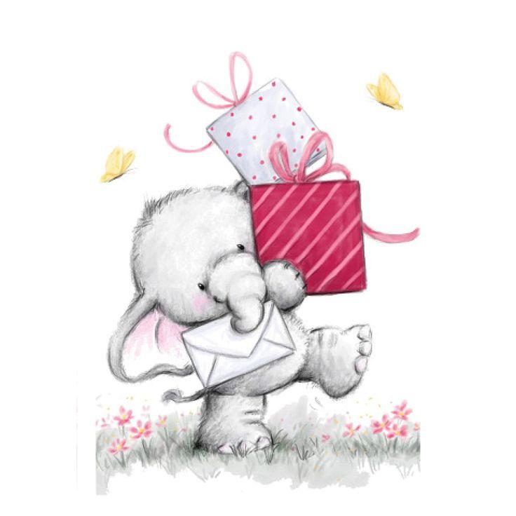 Birthday elephant | clip art (cards) | Pinterest