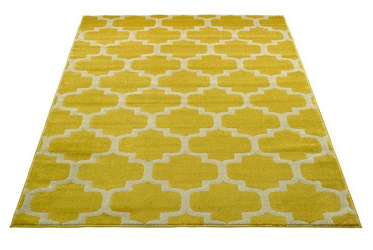 Metro-matto, keltainen.  Etnistyylinen lyhyellä nukalla oleva matto, marokkolaiskuviointi. Materiaali pölyämätöntä polypropyleeniä.