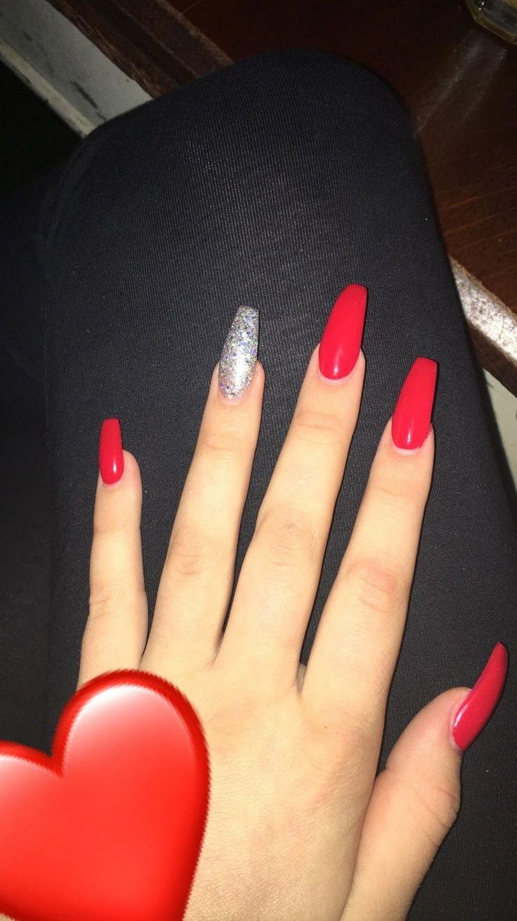 Red Coffin Nails Beautifulacrylicnails Red Acrylic