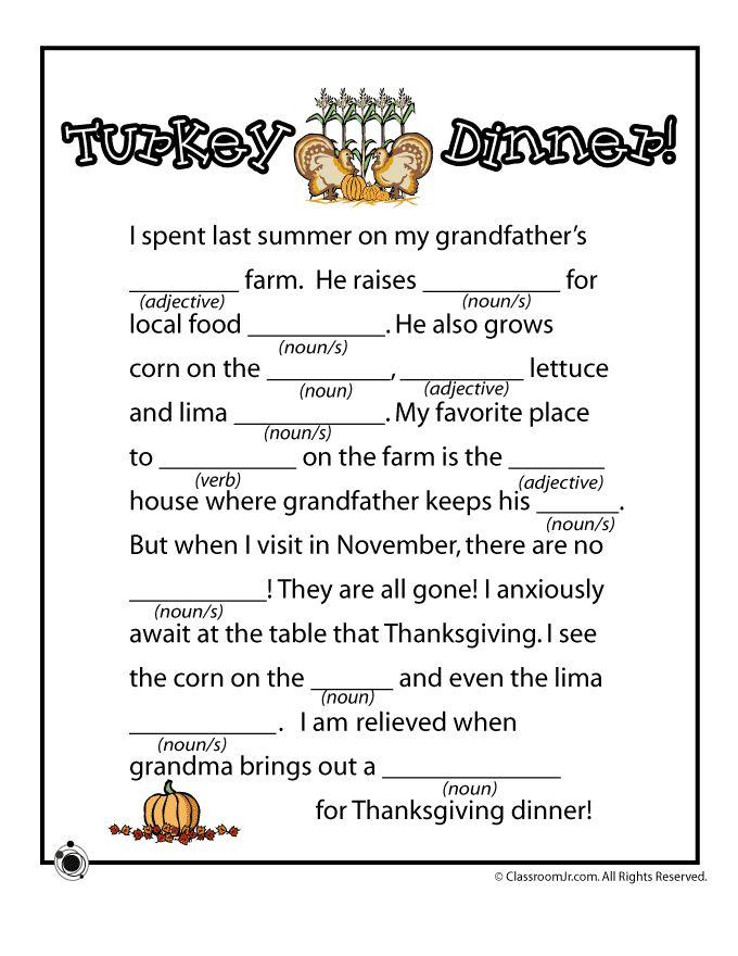 Thanksgiving Mad Libs Thanksgiving Mad Lib - Turkey Dinner – Classroom Jr.