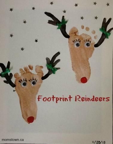 Footprint Reindeer Craft, perfect for Baby's First Christmas - #momstownKW #Christmas #Craft
